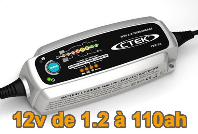 Chargeur de batterie CTEK MXS 5.0 Test and charge